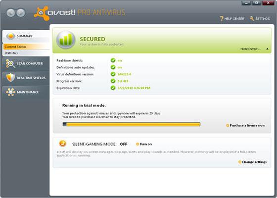 Скриншот программы avast free antivirus