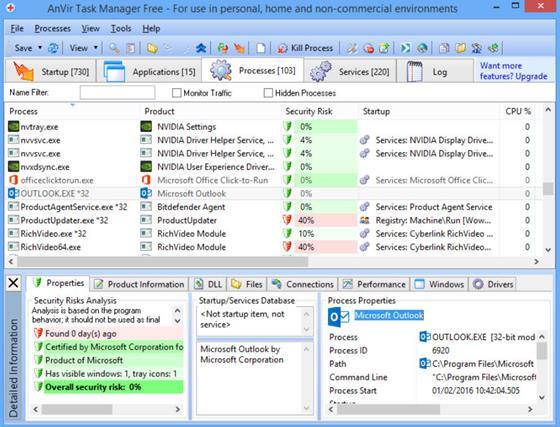Скриншот программы anvir task manager