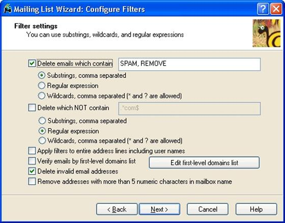Скриншот программы mailing list wizard