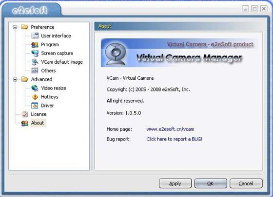 Скриншот программы vcam