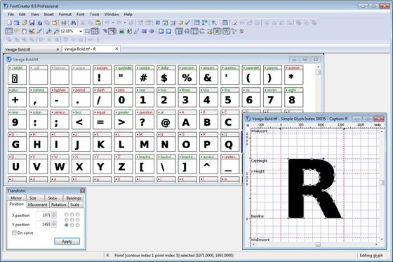 Скриншот программы font creator