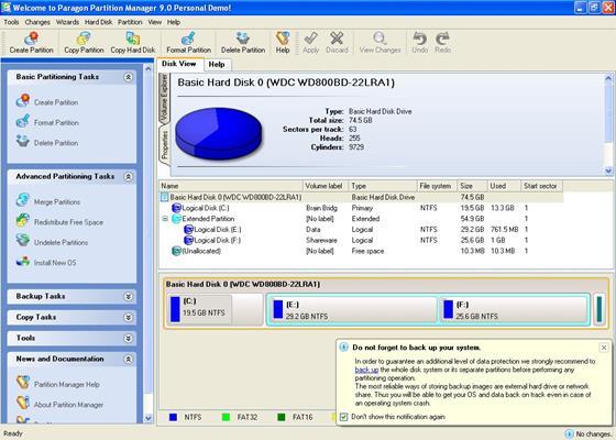 Скриншот программы paragon partition manager