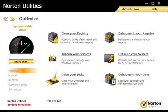 Скриншот программы norton utilities