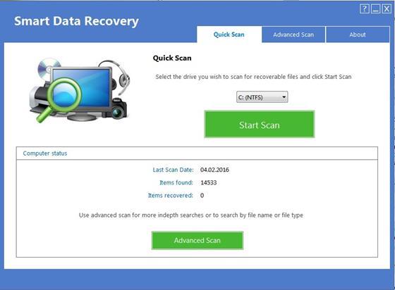 Скриншот программы smart data recovery