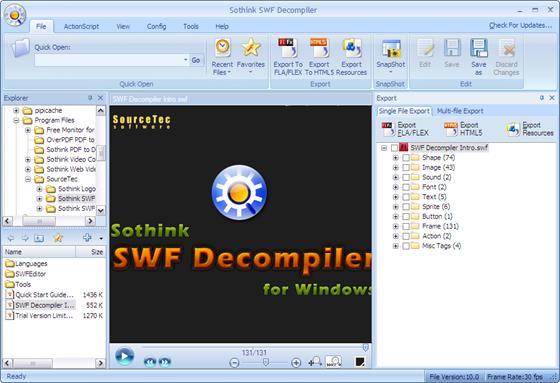 Скриншот программы sothink swf decompiler
