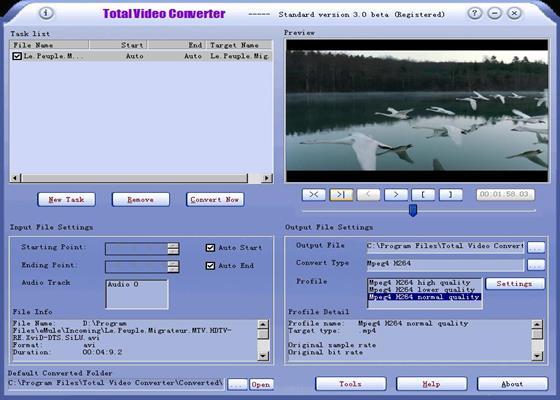 Скриншот программы total video converter
