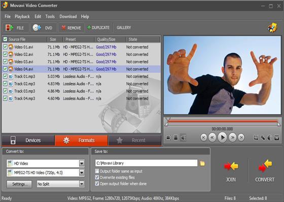 Скриншот программы movavi video converter