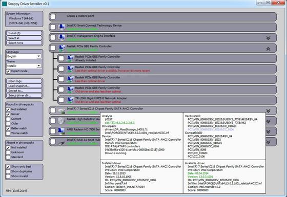 Скриншот программы snappy driver installer