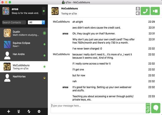 Скриншот программы tox
