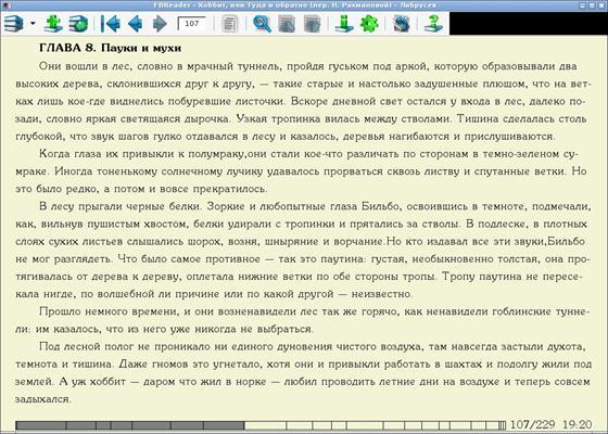 Скриншот программы fbreader