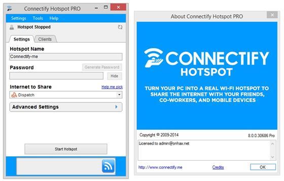 Скриншот программы connectify hotspot pro
