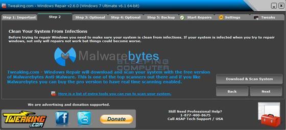 Скриншот программы windows repair