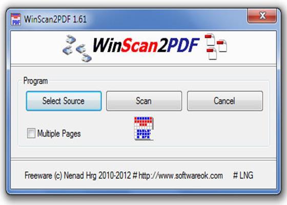 Скриншот программы winscan2pdf для windows 10