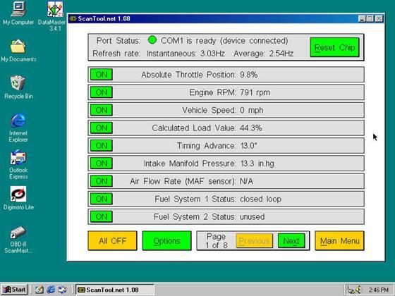 Скриншот программы scantool