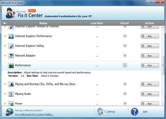Скриншот программы microsoft fix it