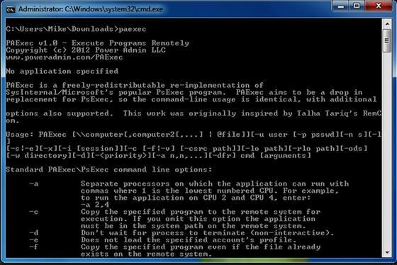Скриншот программы psexec
