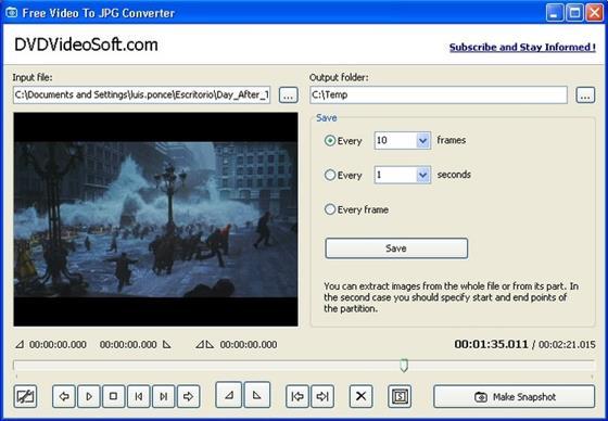 Скриншот программы free video to jpg converter