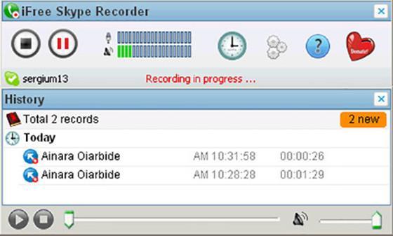 Скриншот программы ifree skype recorder