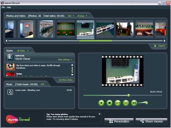 Скриншот программы muvee reveal