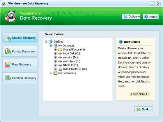 Скриншот программы wondershare data recovery