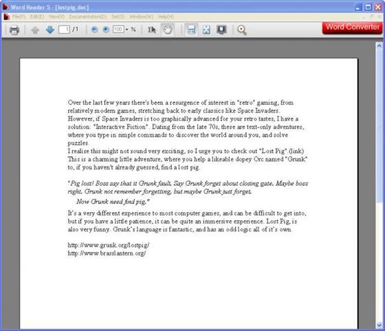 Скриншот программы word reader