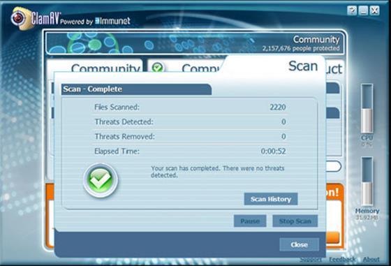 Скриншот программы clamav