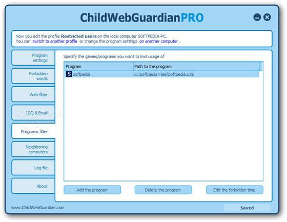 Скриншот программы childwebguardian pro