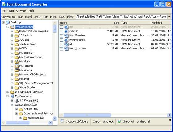 Скриншот программы total doc converter