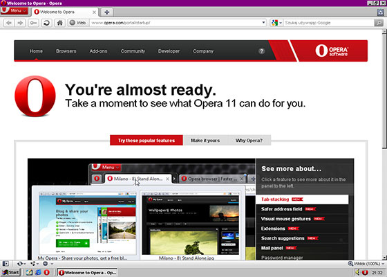 Скриншот программы opera 11