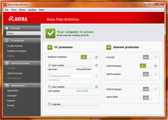 Скриншот программы avira free antivirus