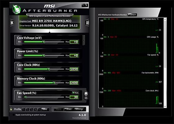 Скриншот программы msi afterburner