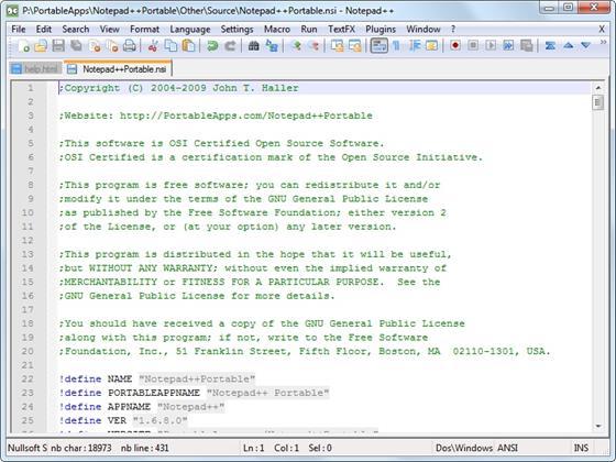 Скриншот программы notepad
