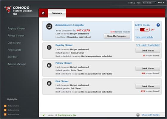 Скриншот программы comodosystemutilities
