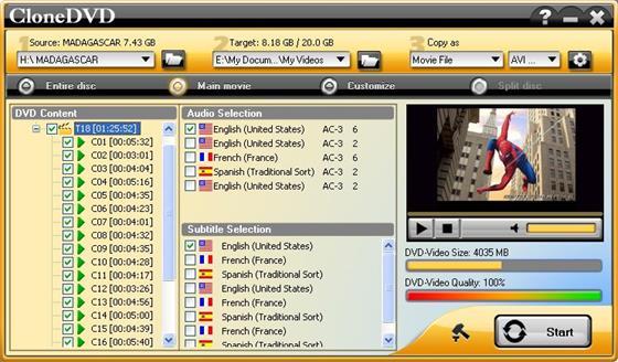 Скриншот программы clonedvd