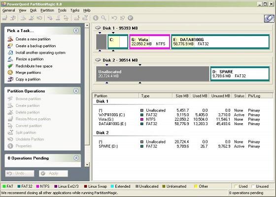 Скриншот программы partition magic