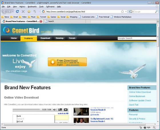 Скриншот программы cometbird
