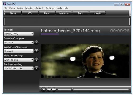 Скриншот программы xvid4psp
