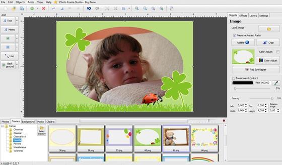 Скриншот программы photo frame studio