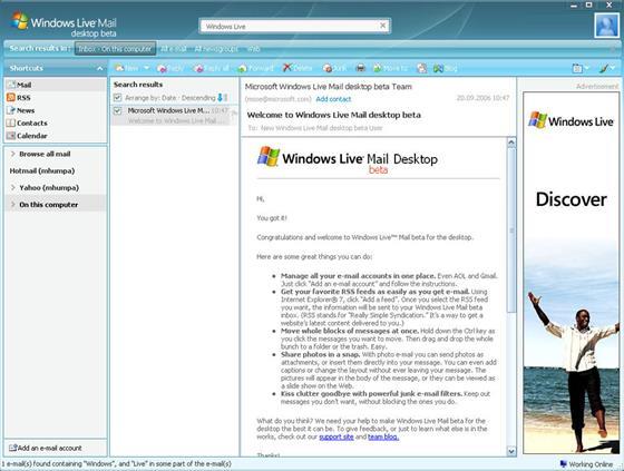 Скриншот программы windows live mail