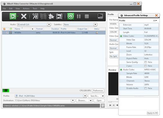 Скриншот программы xilisoft video converter