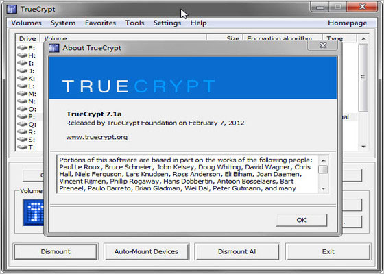 Скриншот программы truecrypt 7.1