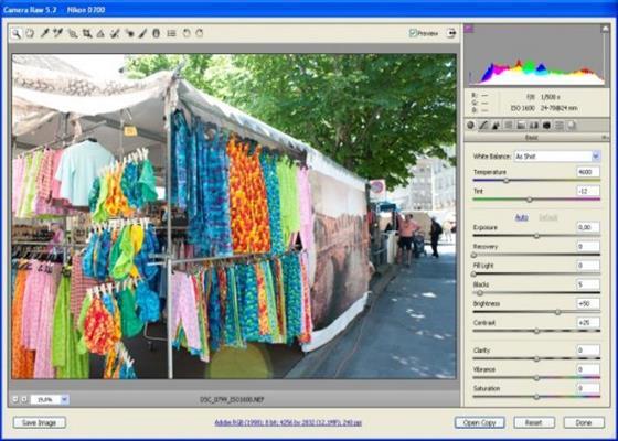 Скриншот программы adobe camera raw