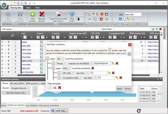 Скриншот программы key collector