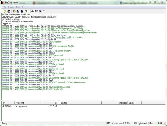 Скриншот программы filezilla server