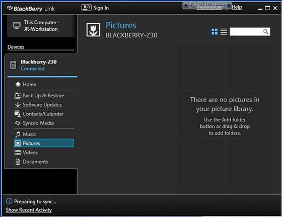 Скриншот программы blackberry link