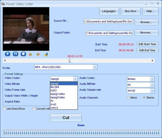 Скриншот программы power video cutter