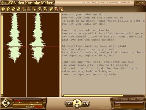 Скриншот программы av video karaoke maker
