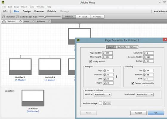 Скриншот программы adobe muse
