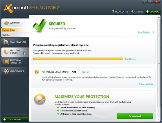 Скриншот программы avast home edition
