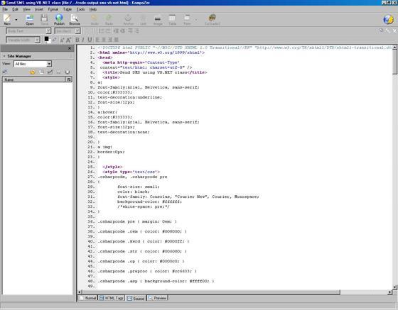Скриншот программы kompozer